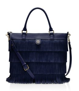 Tory Burch Fringe Suede Fall Boho Rare Tote in Navy Blue