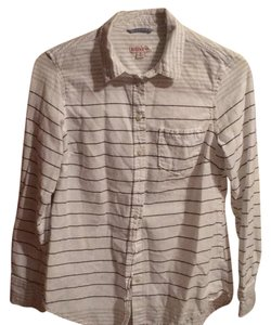 Merona Button Down Shirt White with navy and light grey stripes