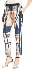 Clover Canyon Abstract Elastic Silky Print Casual Capri/Cropped Pants Multi