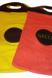 Gucci vintage sacks Set Tote in Yellow and orange with black/brown trim