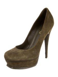 Saint Laurent Yves Suede Platform High Heel 9.5 Olive Green Pumps