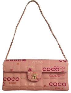 Chanel Logo Quilted Dust Clutch Monogram Shoulder Bag