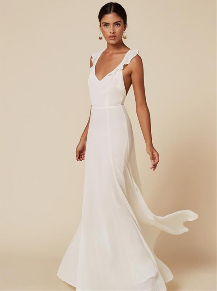 Reformation Ivory Viscose Isabella Modern Wedding Dress