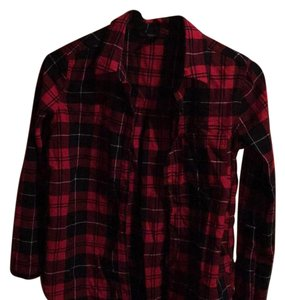 Forever 21 Button Down Shirt Black and Red