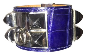 Hermès Hermes CDC blue electric croc bracelet