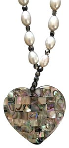 Other Gorgeous Double-Sided Pearl Necklace with Mother-of-Pearl Pendant