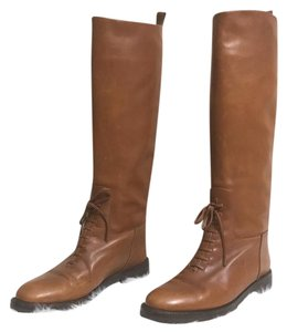 Chanel Riding Leather Riding Brown Boots