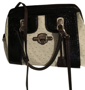 Guess Satchel in bone black brown piping