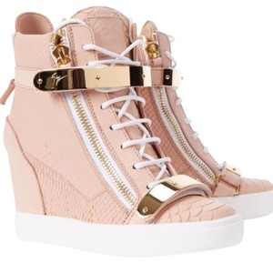 Giuseppe Zanotti High Street White Leather Sneakers Rosa Wedges