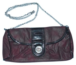 Hush Puppies Chain Strap Faux Suede Convertible Burgundy Clutch