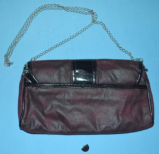 Hush Puppies Chain Strap Faux Suede Convertible Burgundy Clutch Image 1