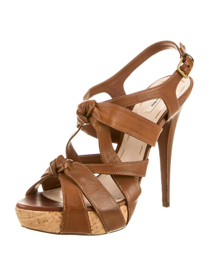 01b5c4307ad01 Miu Miu Brown Tan Strappy Caged Leather Knotted Heels Sandals Size ...