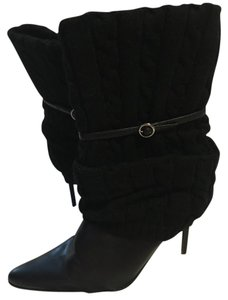 Dollhouse Cable Knit Stiletto Strap Sweetness Black Boots
