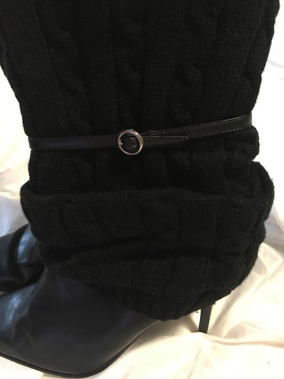 Dollhouse Cable Knit Stiletto Strap Sweetness Black Boots Image 1