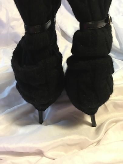 Dollhouse Cable Knit Stiletto Strap Sweetness Black Boots Image 2