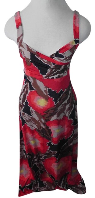 Item - Red Black Tan Brown Bcbg Maxi Bust Spaghetti Strap S Long Cocktail Dress Size 4 (S)