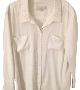 Ann Taylor LOFT Button Down Shirt off white