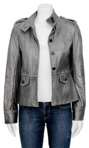 Haute Hippie Grey Leather Peplum Cuff Beige Jacket