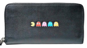 Coach LIMITED Edition! Coach Pac-Man Accordion Zip Around Wallet In Black Le