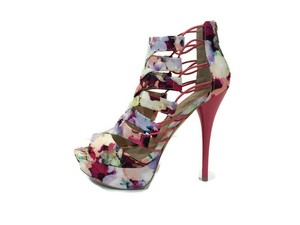 Qupid Spring Summer Floral Pink Multi Platforms