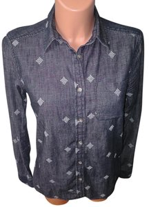 American Eagle Outfitters Jeans Longsleeve Cross Stitch Button Down Shirt Med. Denim
