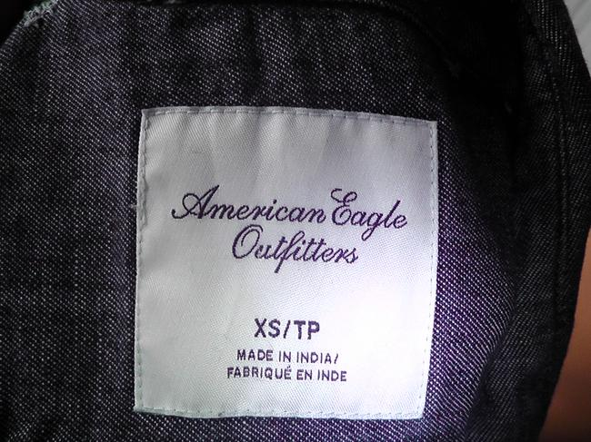 American Eagle Outfitters Jeans Longsleeve Cross Stitch Button Down Shirt Med. Denim Image 3