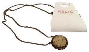Relic Cooper Tone Rhodium round checkaboard crystal long pendant