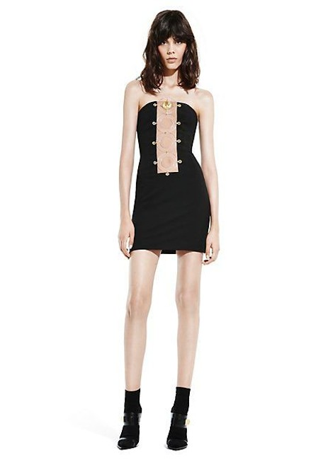 Versace Anthony Vaccarello Sexy Black Low Cut Dress Image 1