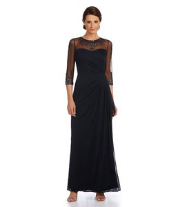 Patra Navy Patra Embellished Illusion Draped Gown Dress