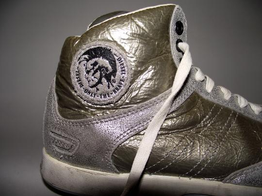Diesel Deep W Women Hipster Shimmer Silver Silver Shiny Swag Swagger Glitter Size 6 Leather California 90s 1990 Summer Gold Metallic Athletic