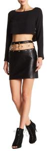 Versace Anthony Vaccarello Embellished Leather Skirt