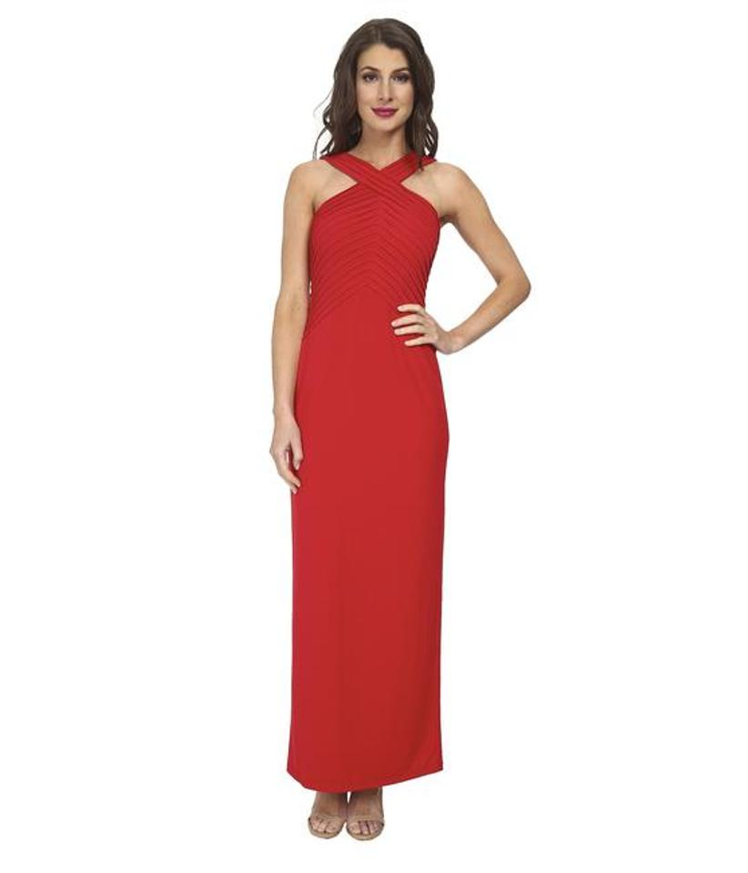 Calvin Klein Red Pin Tuck Bodice Jersey Gown Cd4b1535 Long Night Out ...
