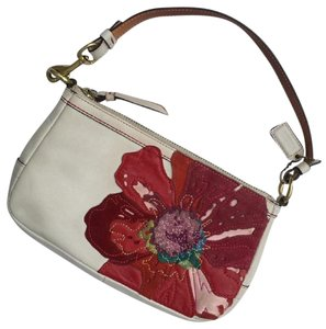 Coach Limited Edition Poppy Flower Evening Leather Wristlet in white