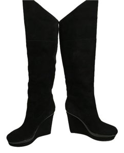 Via Spiga Otk In Front Lining Heels Black suede leather pull on wedge tall knee Boots