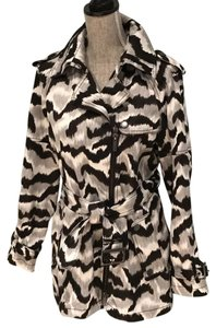 Kenneth Cole Trench Animal Print Size Small Trench Coat