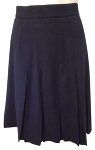 Evan Picone Pleated Wool Classic Skirt Navy Blue