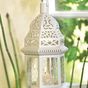 14 White Lace Metal Wedding Lanterns - Led Candles Included