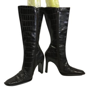 Charles David Toe Rectangle Heels Brown embossed all leather snake pattern knee Boots