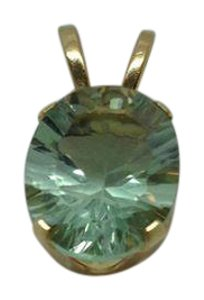 Other 10k yellow gold, 3ctw green amethyst, solitaire pendant (No necklace)