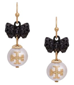 Tory Burch Tory Burch Bow Crystal Stone Statement Earring Evie Pearl Drop
