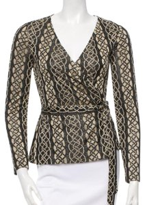 Diane von Furstenberg Top Black Gold