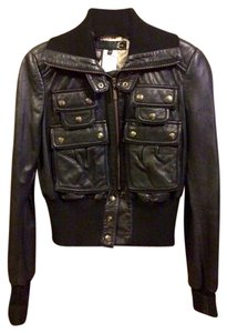 Just Cavalli Leather Bomber Bomber Black Jacket