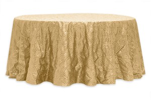 "Gold Mermaid Scale 120"" Round Tablecloth"