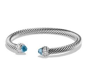 David Yurman DAVID YURMAN CLASSIC CABLE BLUE TOPAZ and DIAMONDS 5 mm BRACELET