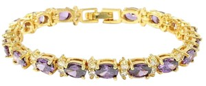 Other ** NWT ** 14K GOLD AMETHYST & WHITE SAPPHIRE TENNIS BRACELET