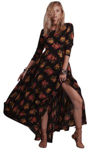 Black, Red, Yellow Maxi Dress by Free People Floral Bohemian Rare Sold Out