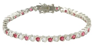 Other ** NWT ** 14K WHITE GOLD RUBY & SAPPHIRE TENNIS BRACELET