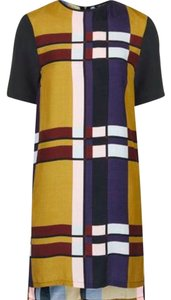Topshop Plaid Silky Color-blocking Mustard Dress