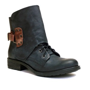 VESTITURE Side Zipper Made In Mexico Vintage Leather Fold Down Panel Double Vamp Panel BLACK Boots