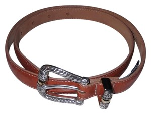 Brighton Brighton Womens Leather Belt Size M Light Brown Skinny Silver Ornate
